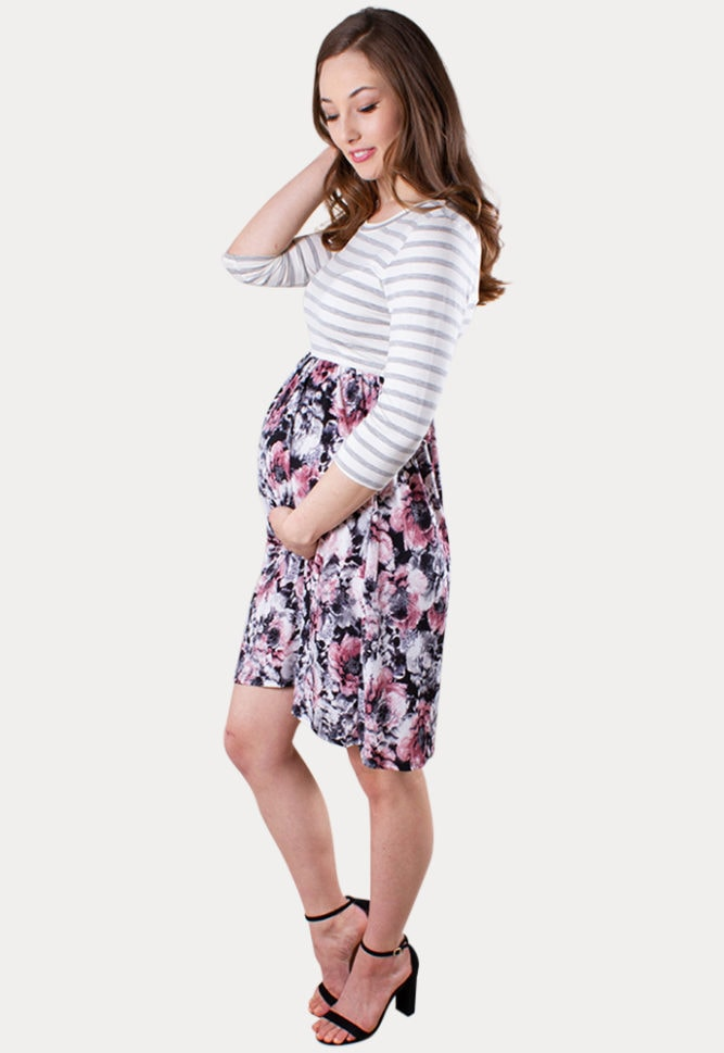 floral stripe maternity dress