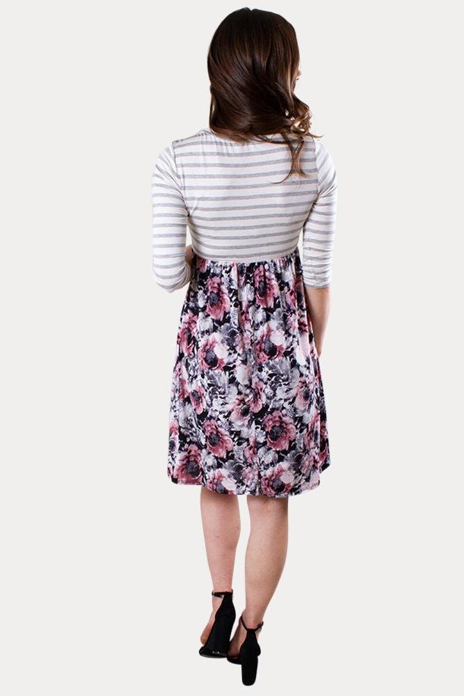 floral stripe maternity dress