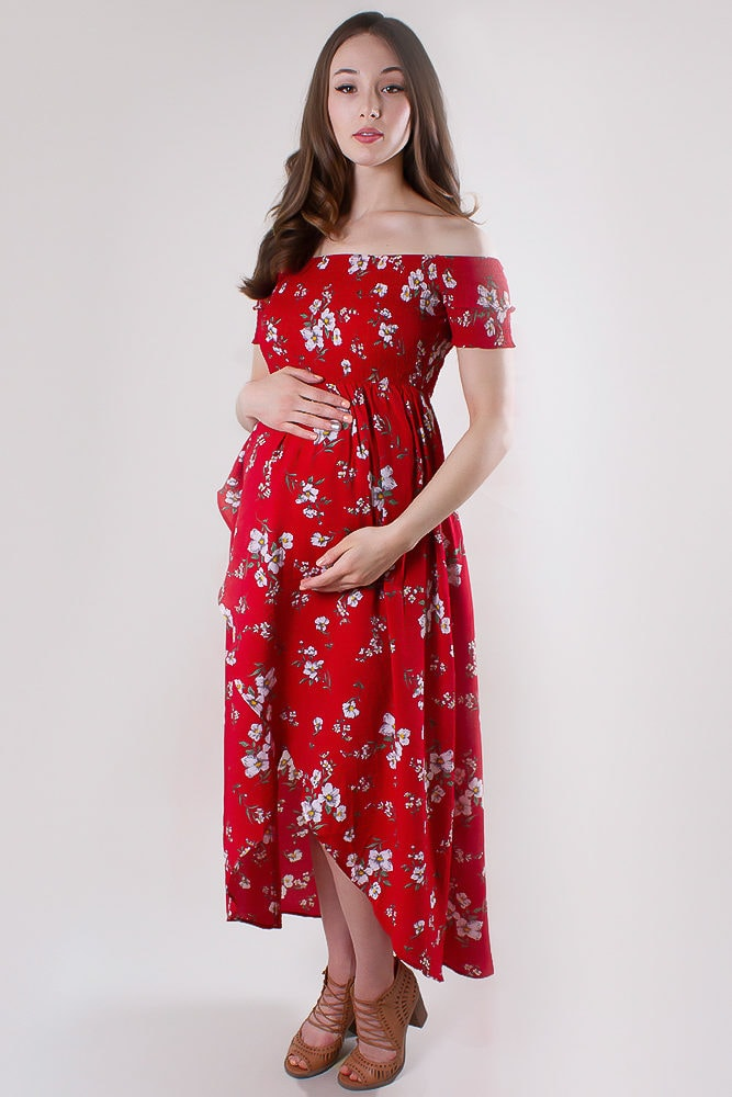 floral wrap maternity dress