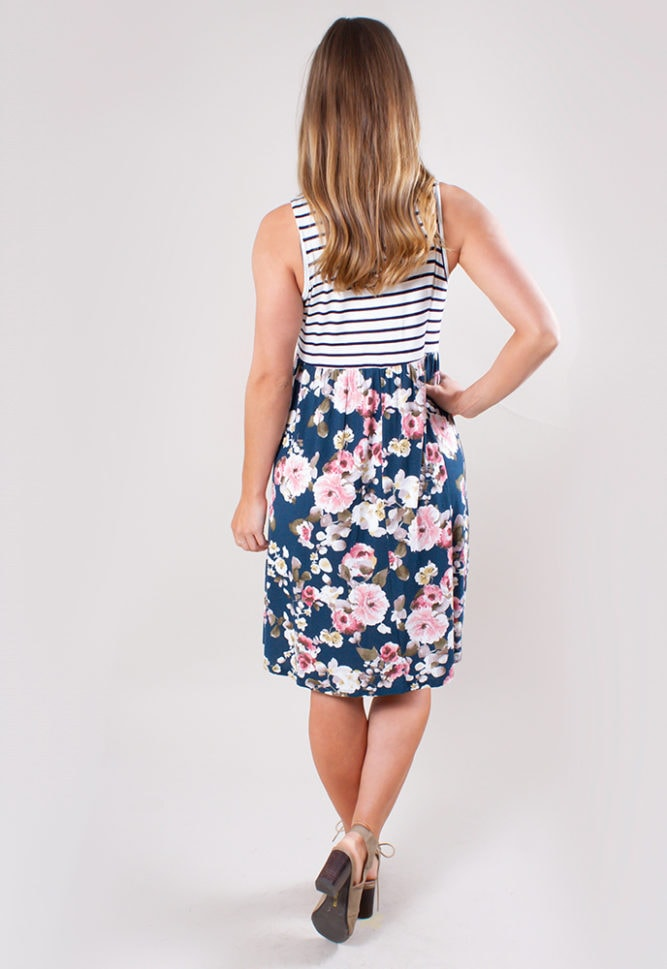floral and stripe maternity dress
