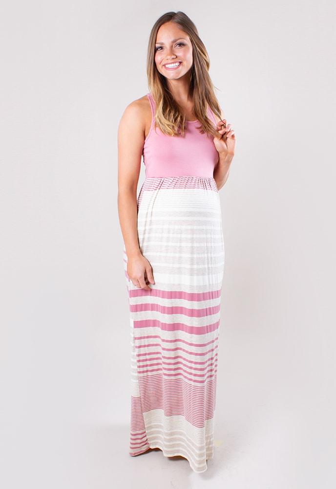 9e1685d7e3303 Maternity Maxi Dress with Stripes - Sexy Mama Maternity