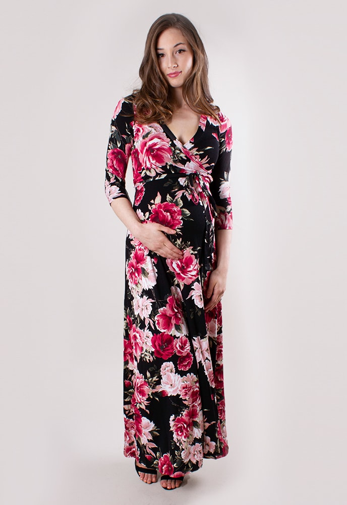 98867e87330cd Floral Maternity Dress with Tie - Sexy Mama Maternity