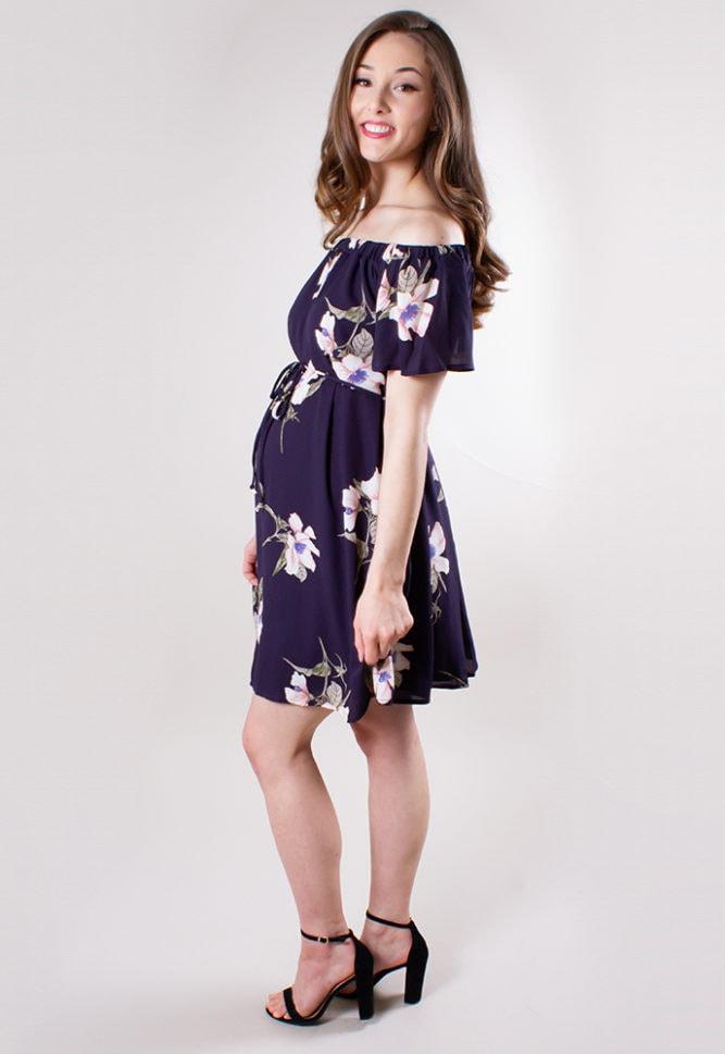 navy floral maternity dress