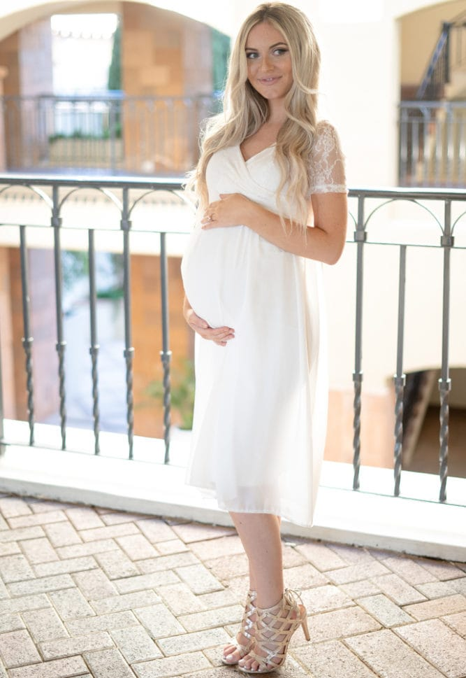 short sleeve maternity reception dress