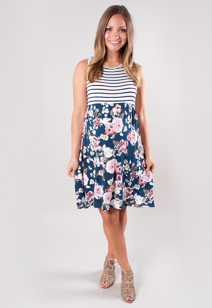 430733bbc22 Floral and Stripe Maternity Dress - Sexy Mama Maternity