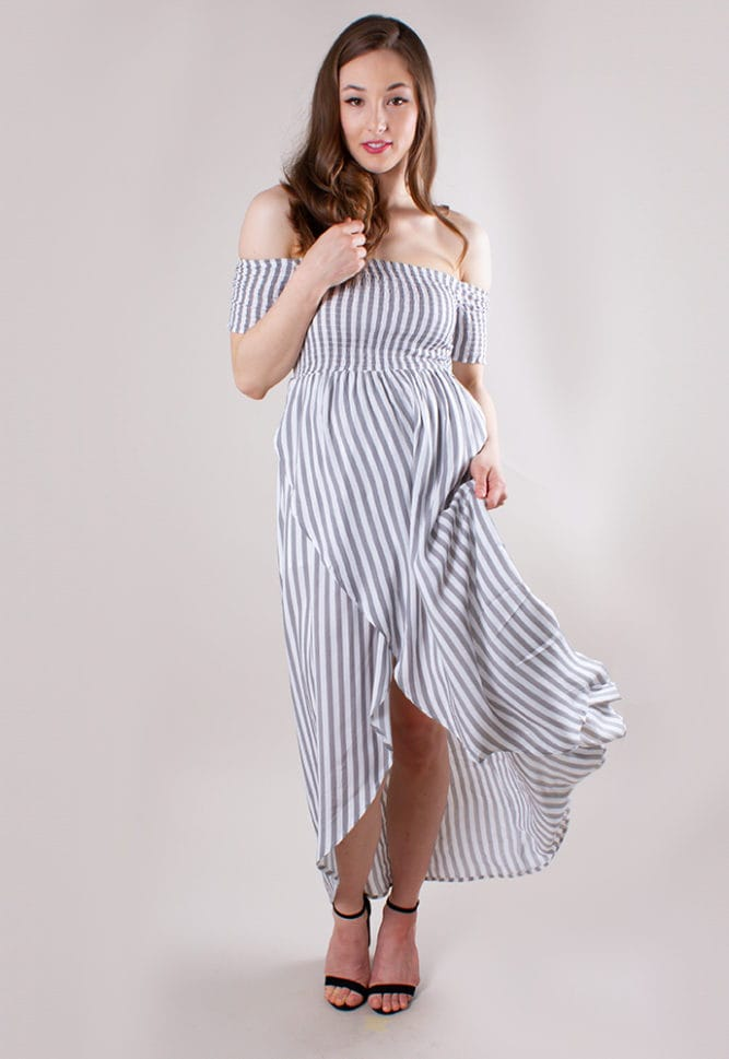 striped maternity wrap dress