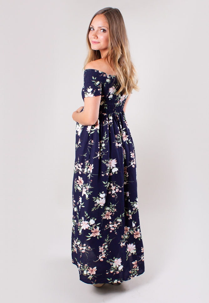 off the shoulder maternity wrap dress