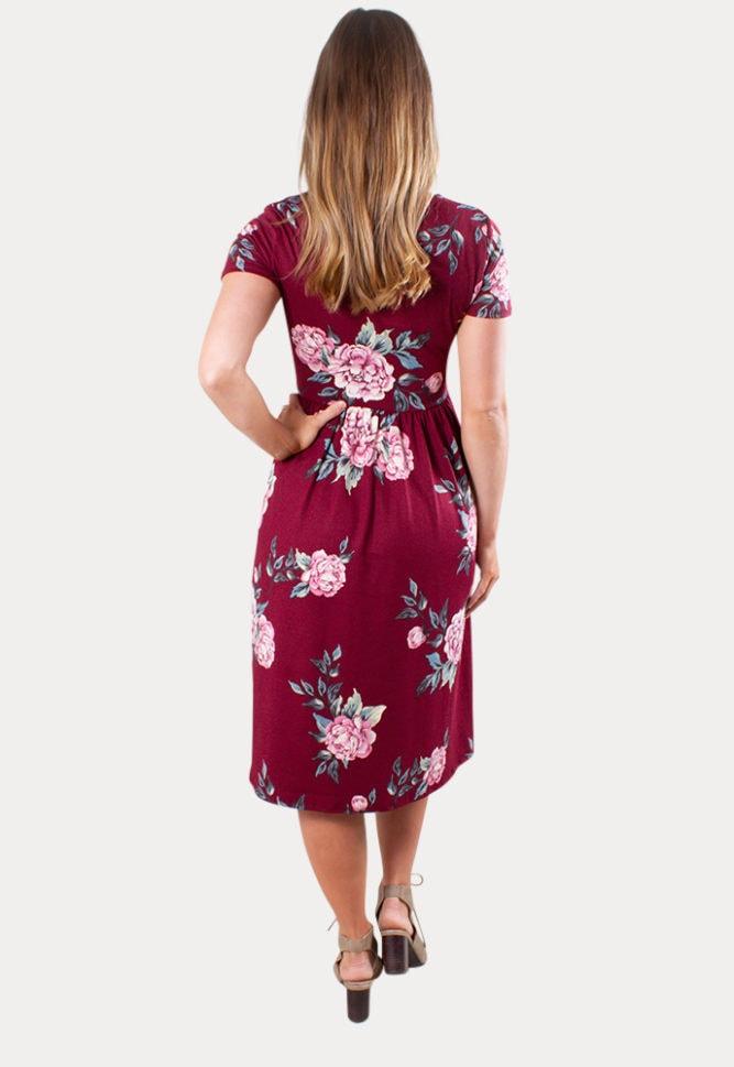 Burgundy floral pregnancy dress