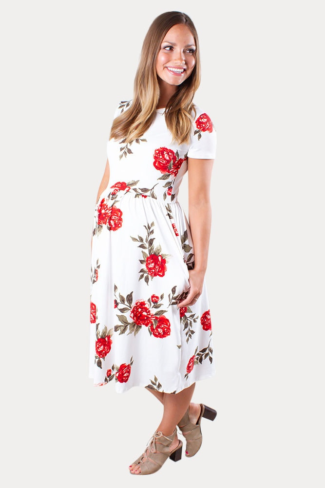 red floral maternity dress