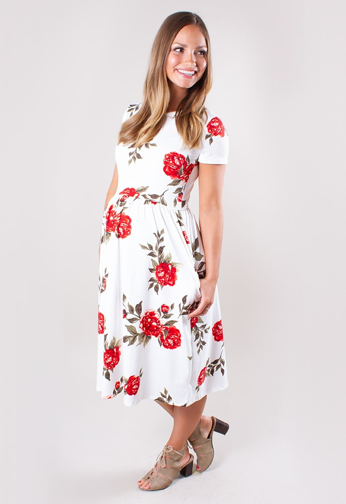 094fdb2fd1f34 Red Floral Maternity Dress - Sexy Mama Maternity