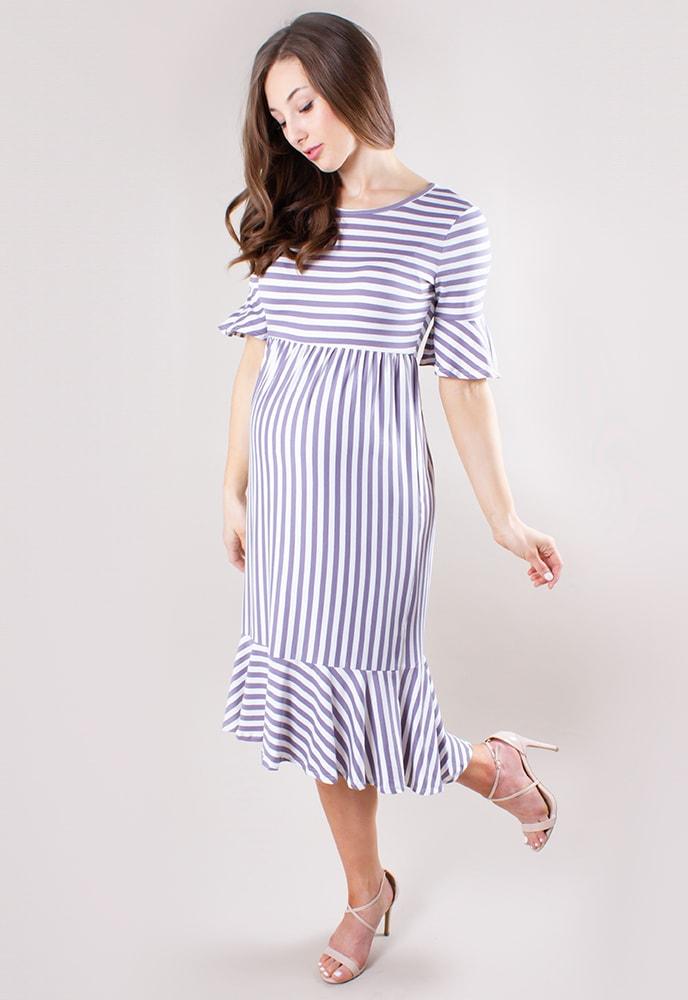 78f94fd19ba73 Striped Ruffle Maternity Dress - Sexy Mama Maternity