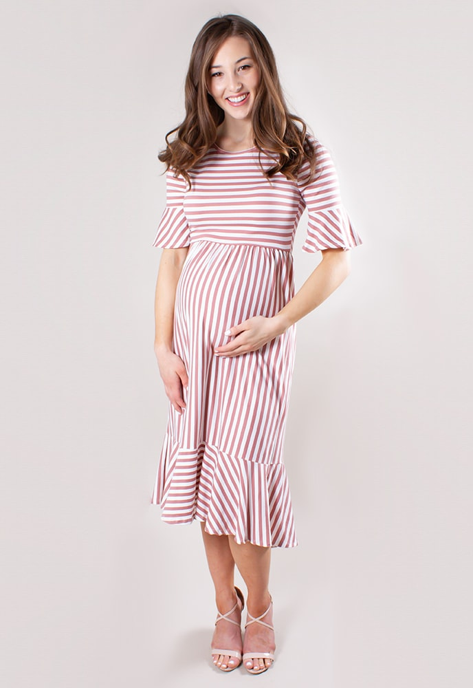 2654a849d024 Striped Midi Maternity Dress - Sexy Mama Maternity