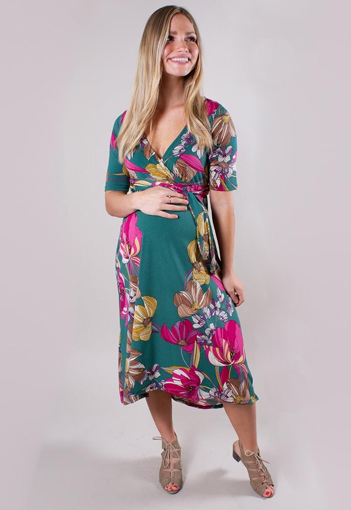 b56326a763b Green Floral Maternity Dress - Sexy Mama Maternity