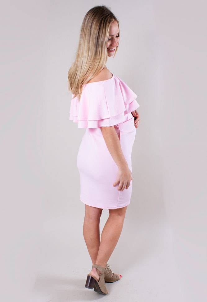 off the shoulder mini maternity dress