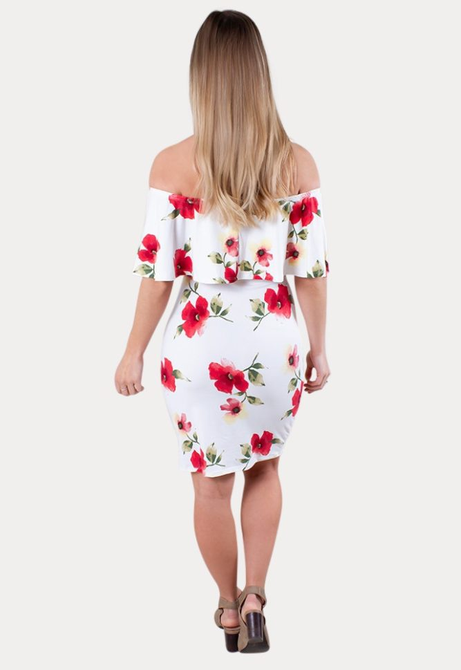 white floral maternity dress
