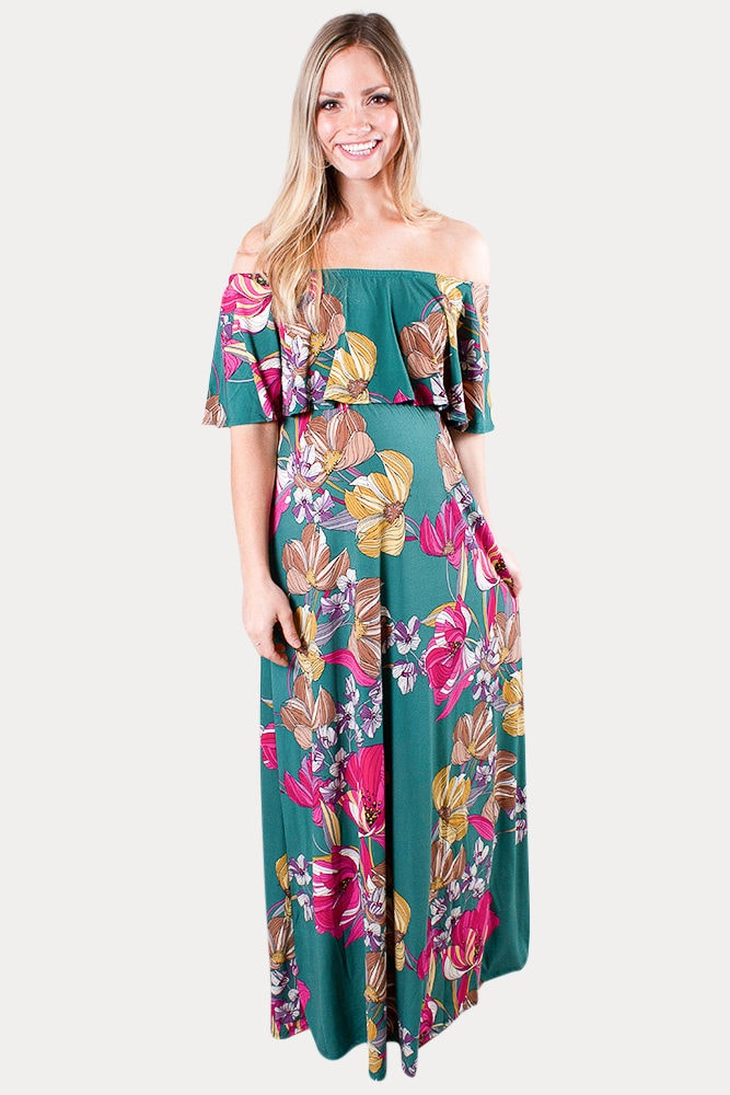 off the shoulder maternity maxi dress