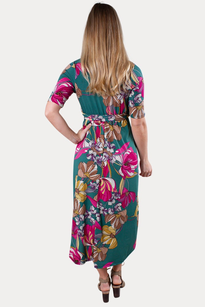green floral maternity dress
