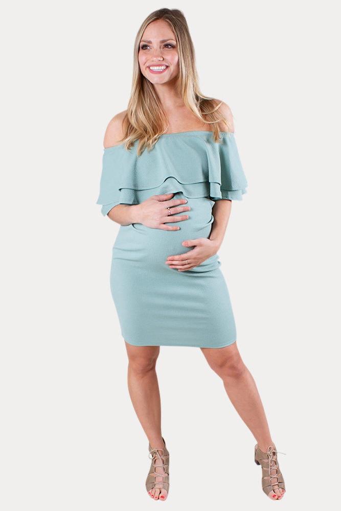 off the shoulder maternity mini dress