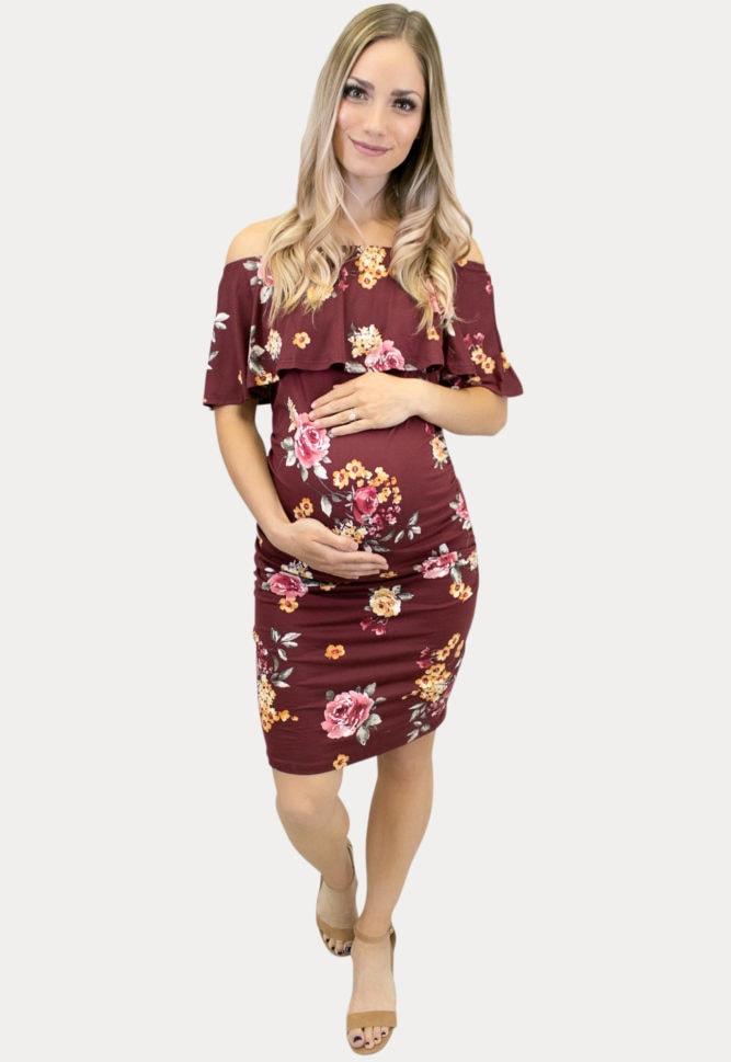 floral off the shoulder maternity dress