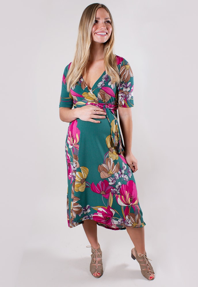 1461bcc615d3f Green Floral Maternity Dress - Sexy Mama Maternity