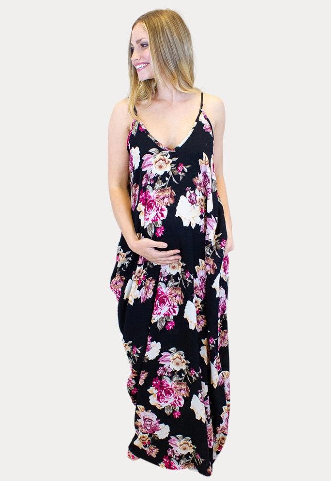 sleeveless maternity maxi dress