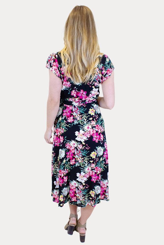 black floral maternity wrap dress