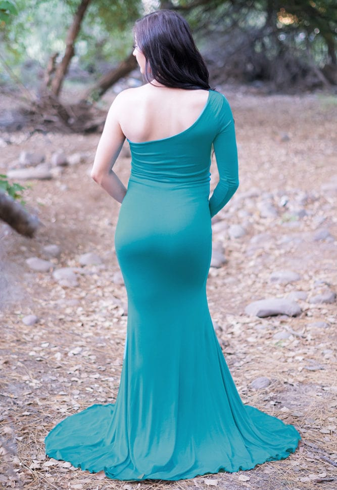 one shoulder maternity gown