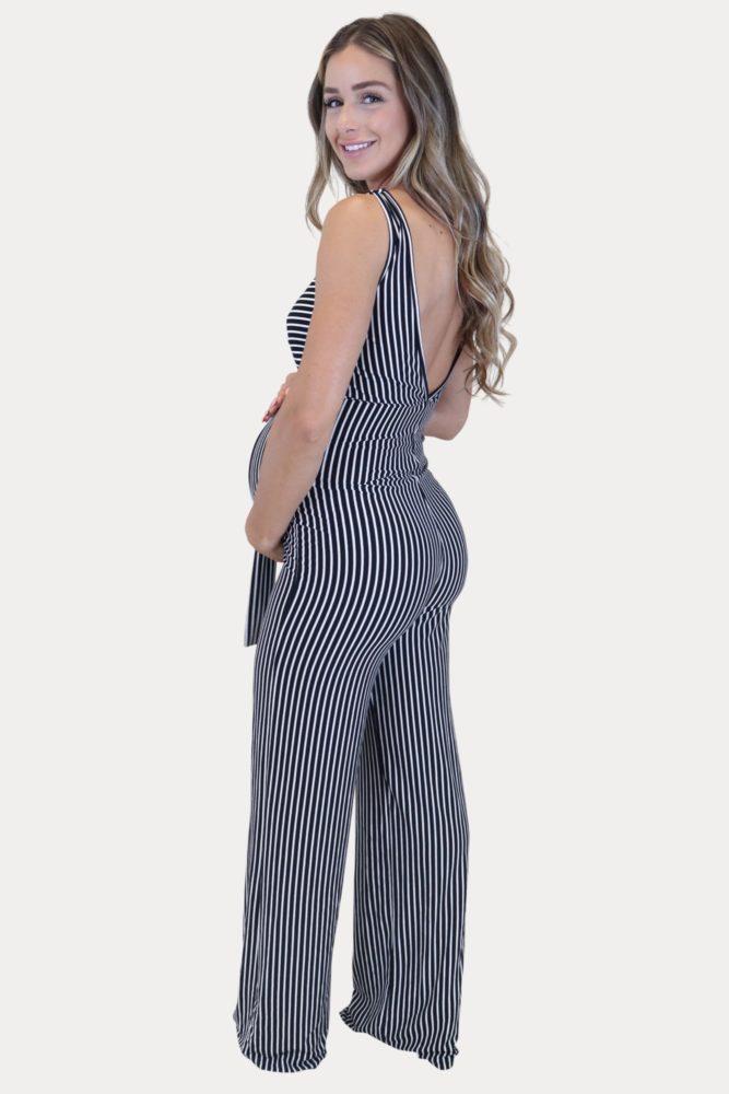 striped maternity jumpsuit