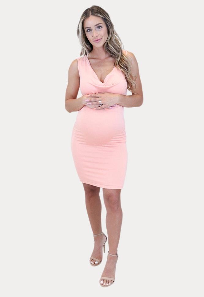maternity cowl neck dress