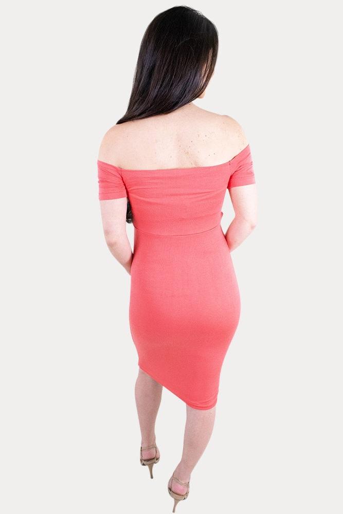 off the shoulder maternity midi dress