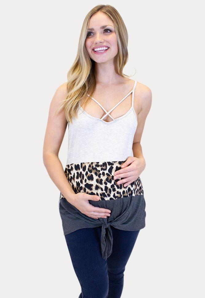 leopard print maternity tank