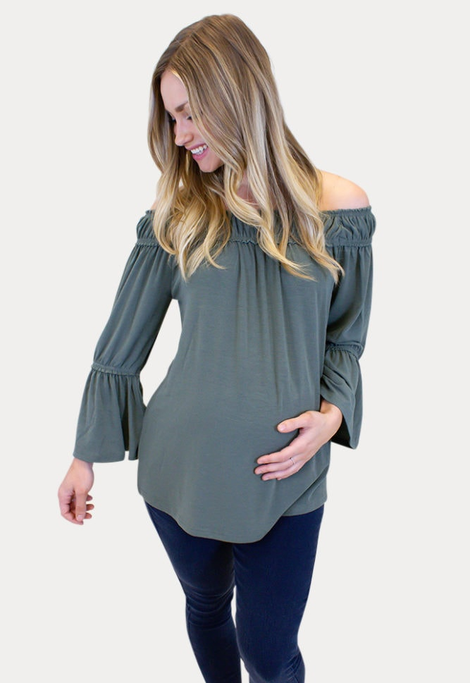 bell sleeve maternity top