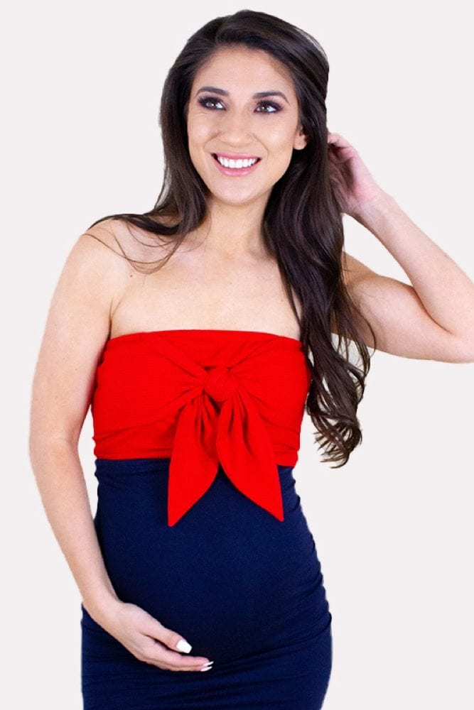 maternity crop top with a bow