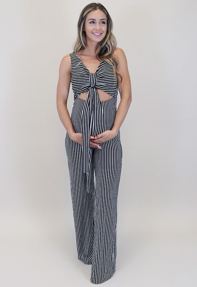 striped maternity jumpsuit