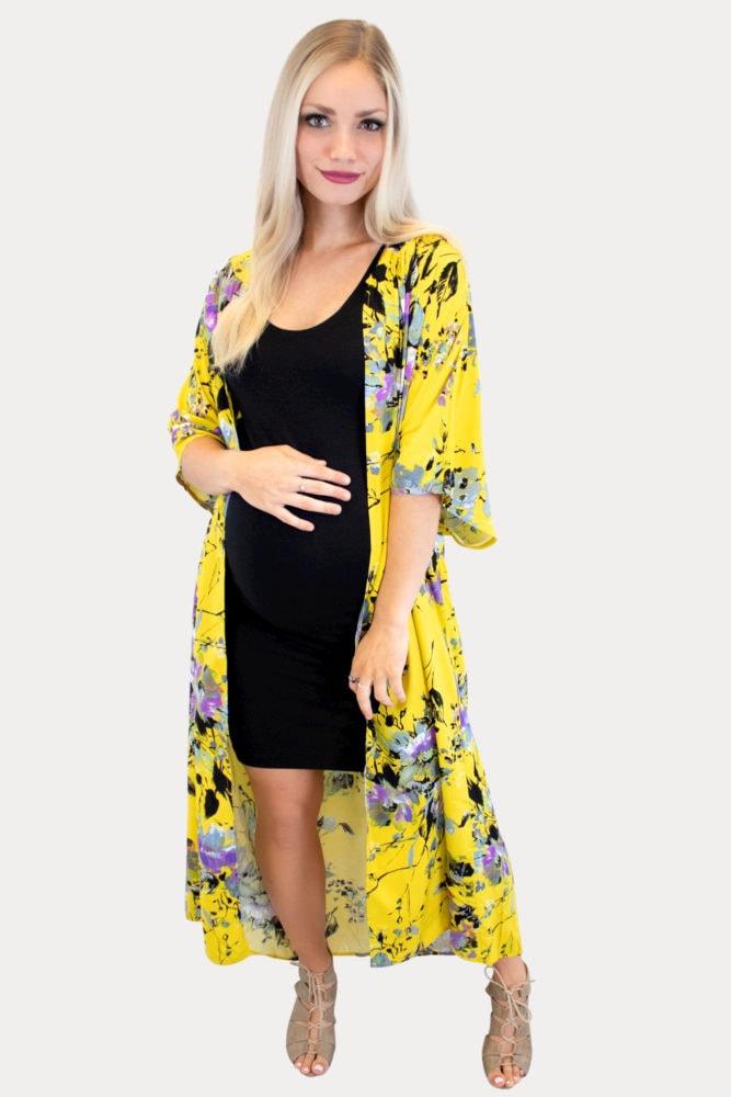 Yellow maternity kimono