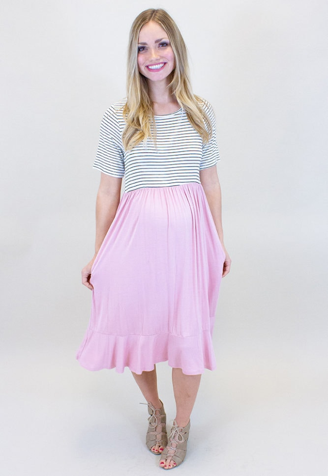 short sleeve maternity dress with stripes