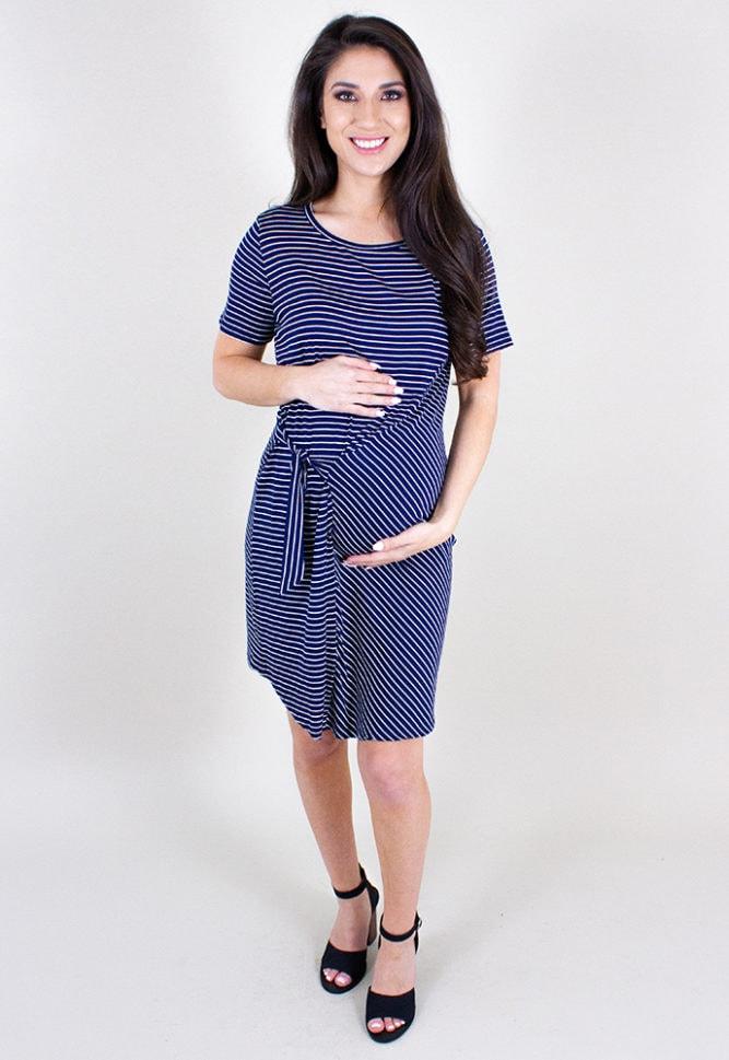 casual striped maternity dress