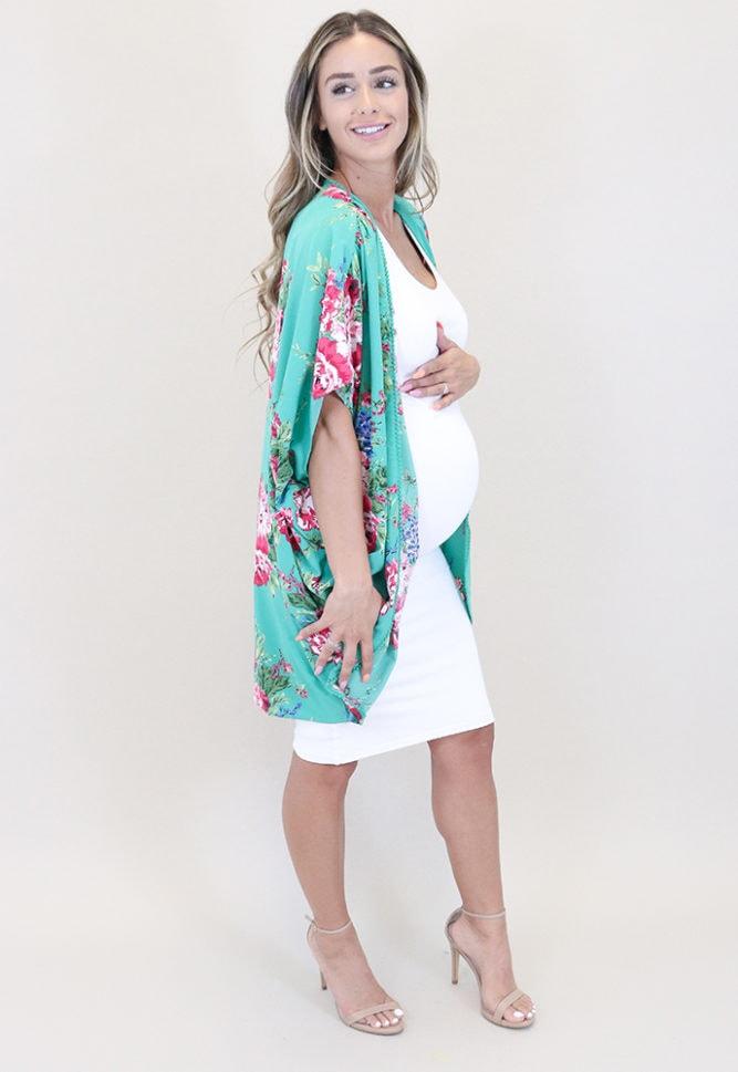 green floral maternity kimono