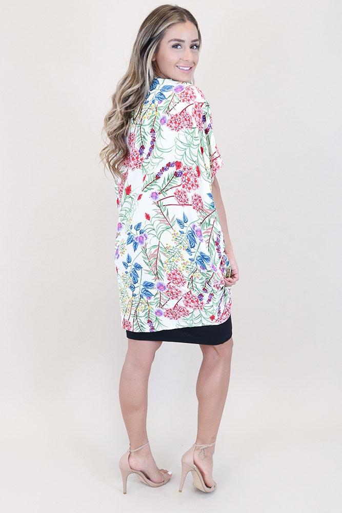 white floral maternity kimono
