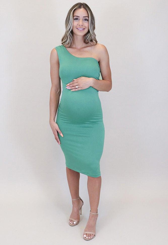 one shoulder pregnancy dress