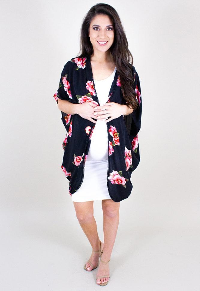 Black maternity kimono