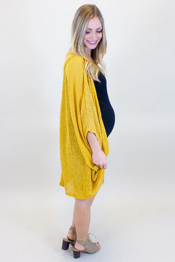 yellow maternity cardigan