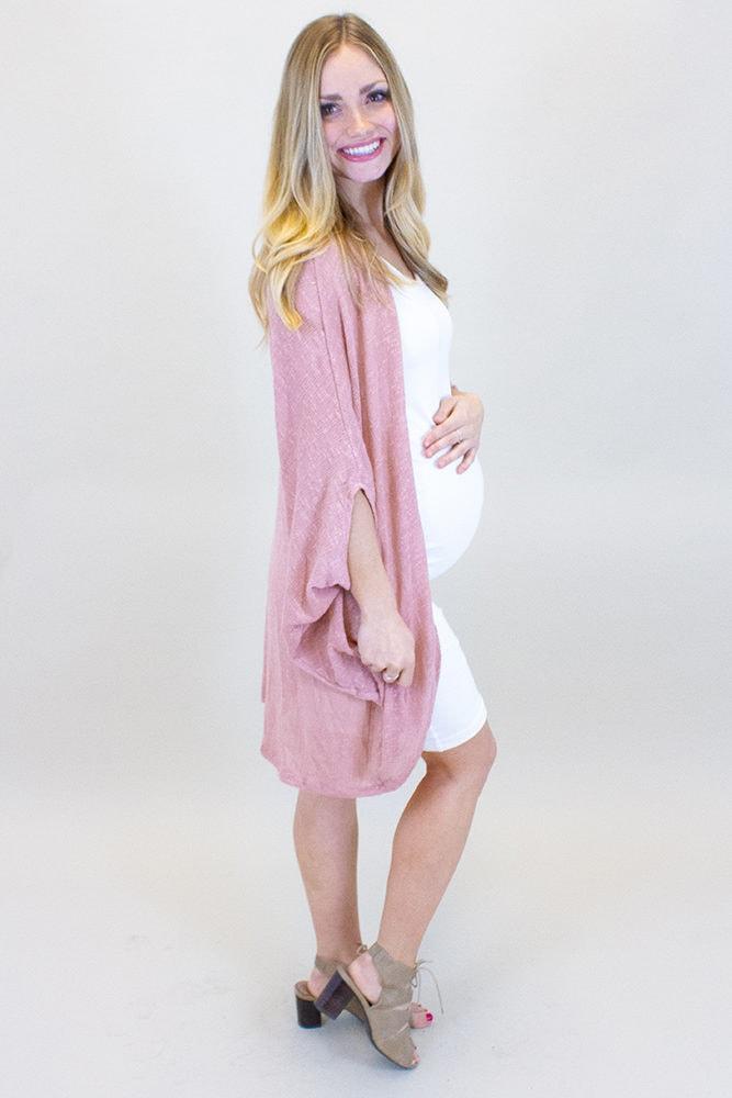 pink maternity cardigan