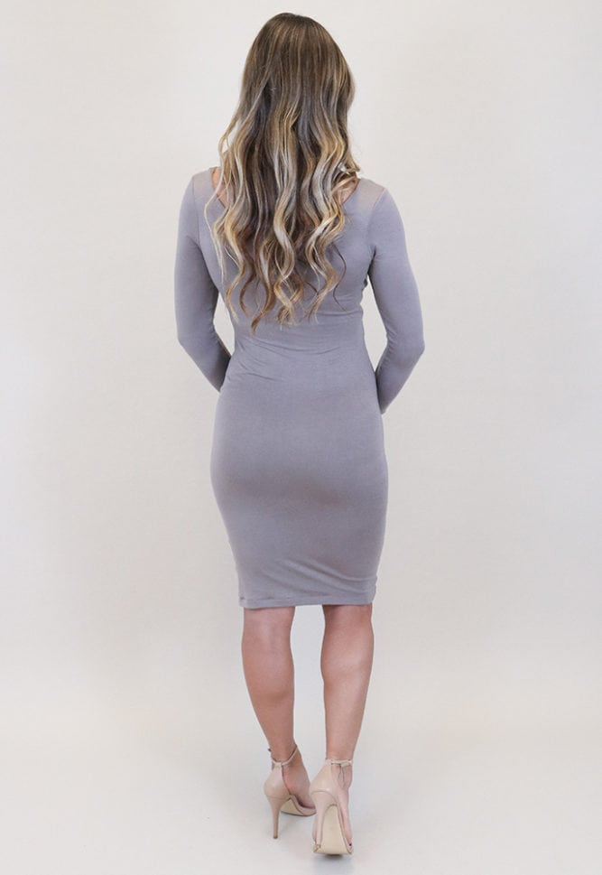 long sleeve maternity midi dress