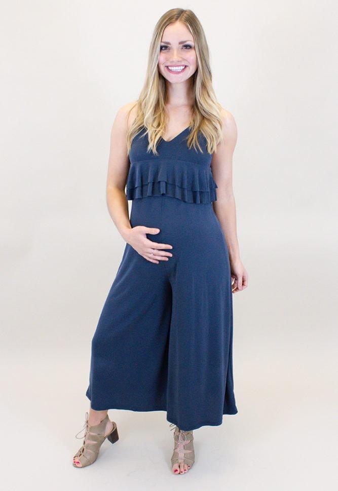 sleeveless maternity jumpsuit