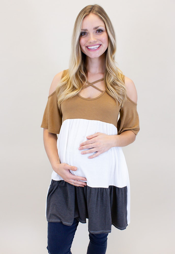 db9106962184 Casual Maternity Top with Short Sleeves - Sexy Mama Maternity