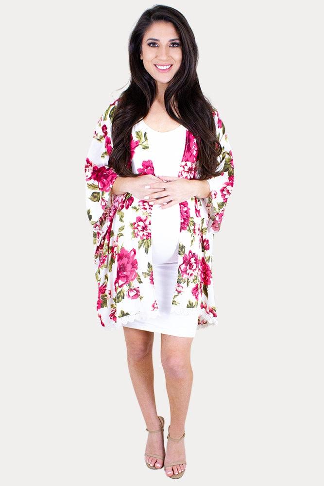 white maternity kimono