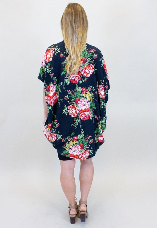 black maternity kimono with flowers