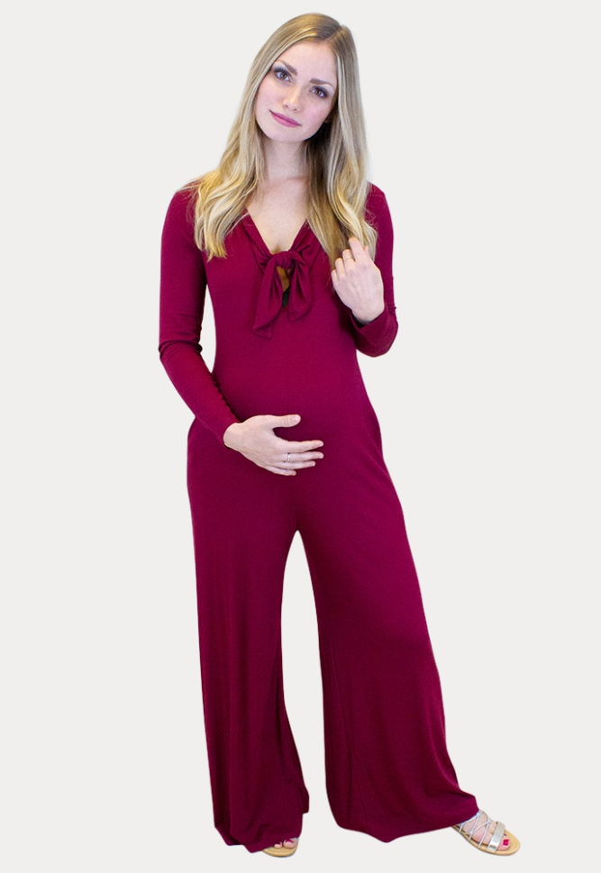 long sleeve maternity jumpsuit