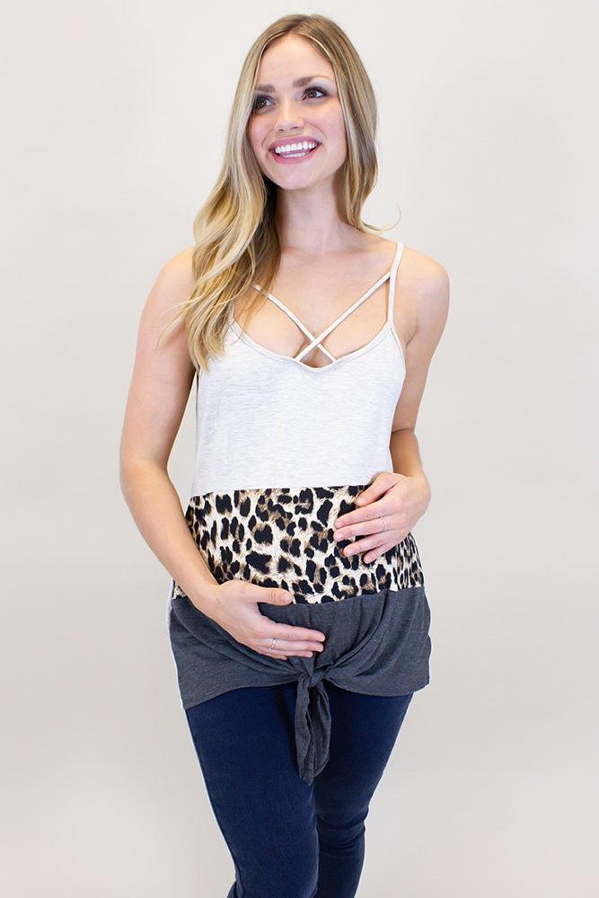 cheetah print maternity tank
